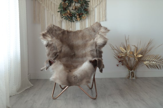 Reindeer Hide | Reindeer Rug | Reindeer Skin | Throw XXL EXTRA LARGE - Scandinavian Style Christmas Decor Brown White Hide #Wre5