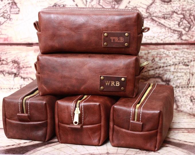 Men's Leather Toiletry Case Dopp Kit Shaving Bag OOAK Groomsmen Present Groomsman, Christmas Gift for him, Gift for Boyfriend, Gift for man