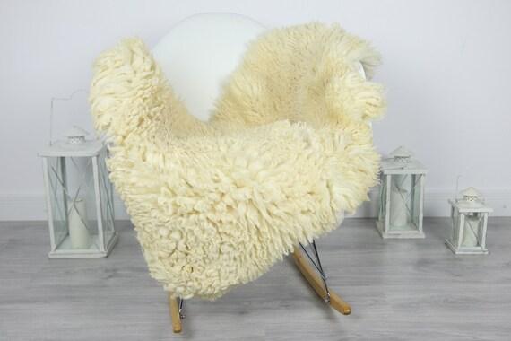 Genuine Rare Tuscan Lamb Sheepskin Rug - Curly Fur Rug - Natural Sheepskin - Ivory  Sheepskin | #CURLY19
