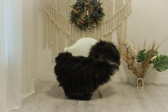Real Icelandic Sheepskin Rug Scandinavian Decor Sofa Sheepskin throw Chair Cover Natural Sheep Skin Rugs Brown Black #Iceland88