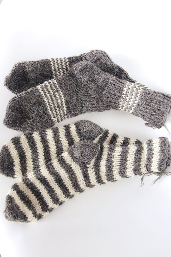 Woolen real hand knitted socks very warm 100% pure natural sheep wool - 3 PACK 3 PAIRS
