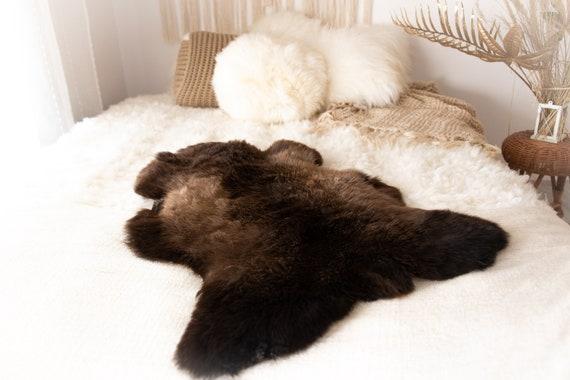 Real Sheepskin Rug Shaggy Rug Chair Cover Sheepskin Throw Sheep Skin Brown Sheepskin Home Decor Rugs #KWAHER3