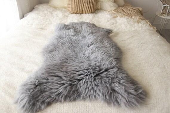 ON SALE Real, Natural, Genuine Creamy White, Gray Sheepskin Rug Scandinavian Design