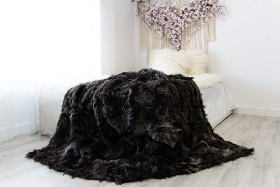 Luxurious Patchwork Toscana Sheepskin Real Fur Throw | Real Fur Blanket | Sheepskin throw | Sheepskin Blanket | Boho Throw |FuFu54