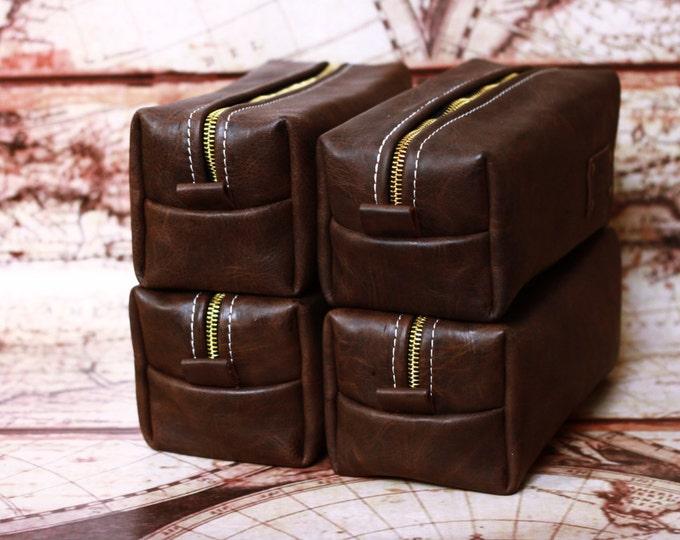 HANDMADE Men's Leather Toiletry Case Dopp Kit Shaving Bag OOAK Groomsmen Present Groomsman Gift Wedding Groom FREE Shipping worldwide