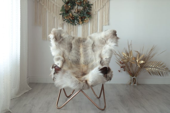 Reindeer Hide | Reindeer Rug | Reindeer Skin | Throw XXL EXTRA LARGE - Scandinavian Style Christmas Decor Brown White Hide #Wre13