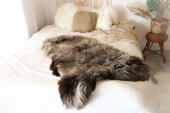 Real Sheepskin Rug Shaggy Rug Chair Cover Sheepskin Throw Sheep Skin Brown Gray Sheepskin Home Decor Rugs #OCTHER66