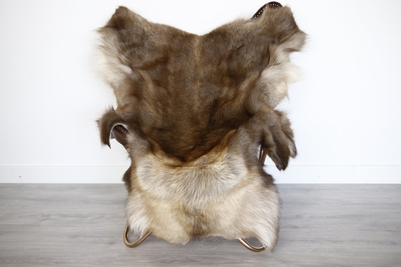 Reindeer Hide | Reindeer Rug | Reindeer Skin | Throw XXL EXTRA LARGE - Scandinavian Style Christmas Decor Brown Hide #Ire7