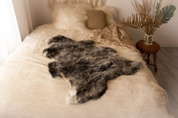 Real Sheepskin Rug Shaggy Rug Chair Cover Sheepskin Throw Sheep Skin Gray Sheepskin Home Decor Rugs Sheep skin Grey #Nugut6