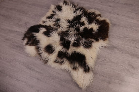 Double Sheepskin Rug Long rug Sheepskin Throw Chair Cover Runner Rug  Carpet  Brown White Sheepskin Sheep Skin Rug | ŚRSZ1