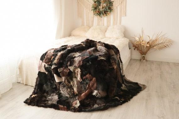 Luxurious Patchwork Toscana Sheepskin Real Fur Throw | Real Fur Blanket | Sheepskin throw | Boho Throw  | FUFU9