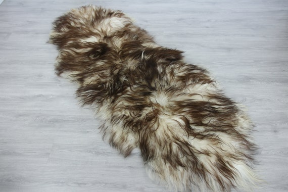 Double Icelandic Sheepskin Rug Long rug Sheepskin Throw Chair Cover Runner Rug  Carpet Brown Tips Sheepskin Sheep Skin Rug | 2double4