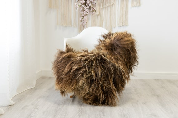 Real Icelandic Sheepskin Rug Scandinavian Home Decor Sofa Sheepskin throw Chair Cover Natural Sheep Skin Rugs Brown #Iceland331