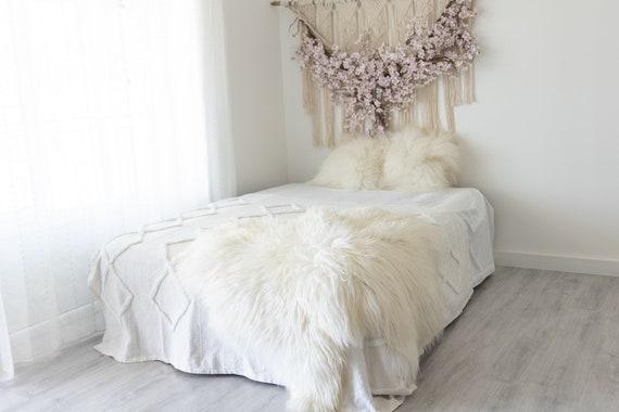 Double Icelandic Ivory Sheepskin Rug | Long rug | Shaggy Rug | Chair Cover | Area Rug | Double Rug | Icelandic Sheep skin #3pol1