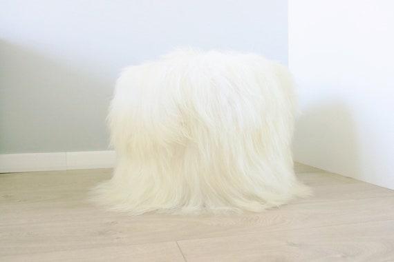 Icelandic Sheepskin pouf, furry pouf, real fur sheepskin ottoman COLORS AVALIABLE