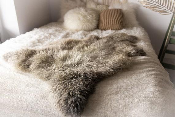 Real Sheepskin Rug Genuine Rare Gotland Sheepskin Rus - Curly Fur Rug Scandinavian Sheep skin - Gray Brown Sheepskin #Bohgot6