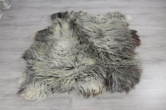 Double XXL Sheepskin Rug | Long rug | Shaggy Rug | Chair Cover | Runner Rug | Carpet | Gray White Sheepskin | Sheepskin Rug | Grayszy2