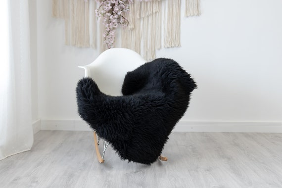 Real Sheepskin Rug Shaggy Rug Chair Cover Scandinavian Home Sheepskin Throw Sheep Skin Black Sheepskin Home Decor Rugs #herdwik194