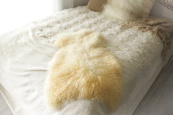 Real Sheepskin Rug Genuine Rare Gotland Sheepskin Rus - Curly Fur Rug Scandinavian Sheepvskin -  Ivory Brown Sheepskin #0Margot18
