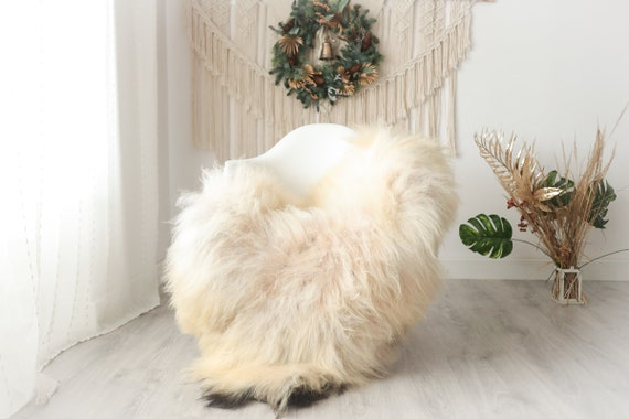 Real Icelandic Sheepskin Rug Scandinavian Decor Sofa Sheepskin throw Chair Cover Natural Sheep Skin Rugs Ivory Black #Iceland34
