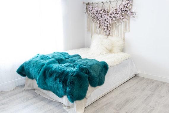 Quad Turquoise Blue Merino Sheepskin Rug | Long rug | Shaggy Rug | Chair Cover | Area Rug | Turquoise Rug | Carpet | Turquoise Throw