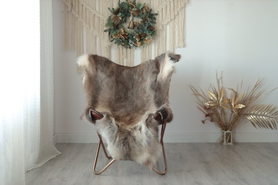 Reindeer Hide | Reindeer Rug | Reindeer Skin | Throw XXL EXTRA LARGE - Scandinavian Style Christmas Decor Brown White Hide #Wre11