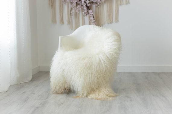 Real Sheepskin Rug Genuine Rare Mongolian Sheepskin Rug - Curly Fur Rug Scandinavian Sheep skin - Creamy White Sheepskin #G2