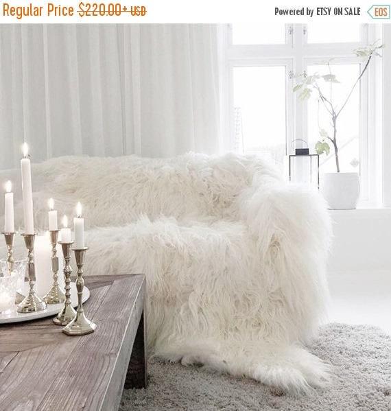 Genuine Natural Icelandic Throw Blanket | Sheepskin Rug | White Bed Throw | Sheepskin Bed Throw | Shaggy bed throw  | Scandinavian Throw
