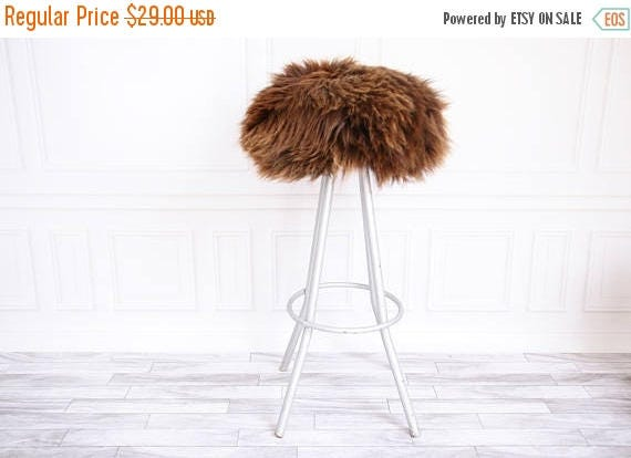 On Sale Sheepskin Stool Cover Round Stool Cover Furry Etsy
