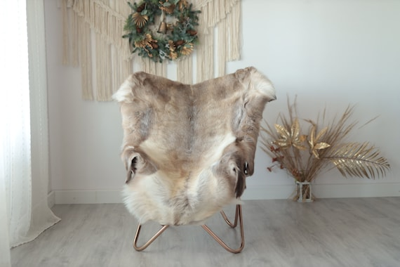 Reindeer Hide | Reindeer Rug | Reindeer Skin | Throw XXL EXTRA LARGE - Scandinavian Style Christmas Decor Brown White Hide #Wre6