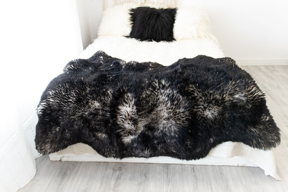 Triple Black White Mouflon Merino Sheepskin Rug | Long rug | Shaggy Rug | Chair Cover | Area Rug | Black Rug | Carpet | Black White Mouflon