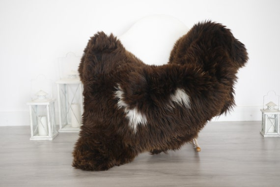 Real Sheepskin Rug Shaggy Rug Chair Cover Sheepskin Throw Sheep Skin Brown White Sheepskin Home Decor Rugs #6her51