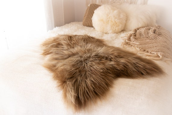 Real Icelandic Sheepskin Rug Scandinavian Decor Sofa Sheepskin throw Chair Cover Natural Sheep Skin Rugs  Brown Blanket Fur Rug #KWAISL1