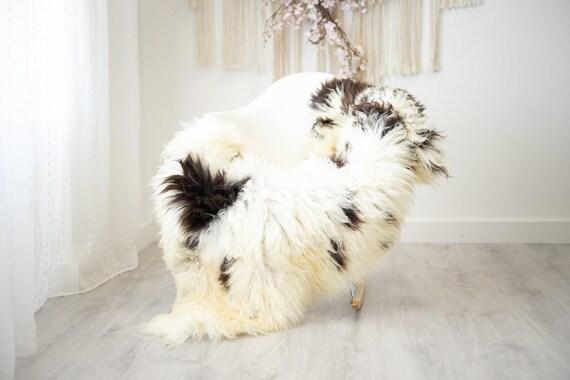 Real Sheepskin Rug Shaggy Rug Chair Cover Scandinavian Home Sheepskin Throw Sheep Skin Ivory Brown Sheepskin Home Decor Rugs #herdwik266