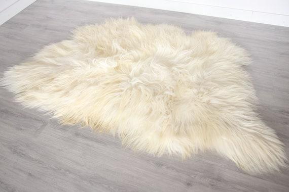 Real Icelandic Sheepskin Throw Scandinavian Decor Sofa Sheepskin throw Chair Cover Natural Sheep Skin Rugs Blanket Fur Triple Rugs #Bezszy2