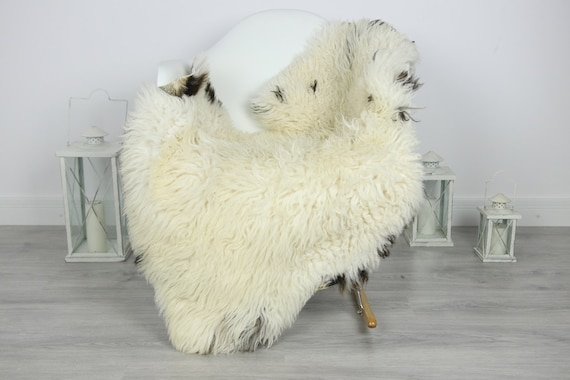 Genuine Rare Tuscan Lamb Sheepskin Rug - Curly Fur Rug - Natural Sheepskin - White Black  Sheepskin | #CURLY32