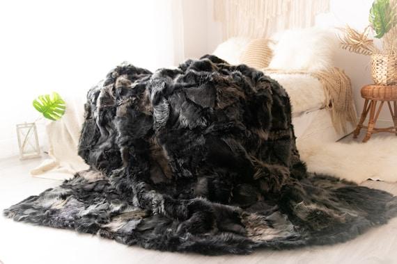 Luxurious Toscana Sheepskin Real Fur Bed Spread Throw Real Fur Blanket Sheepskin throw Sofa Cover Luxury Blanket Comforter Boho Graphite