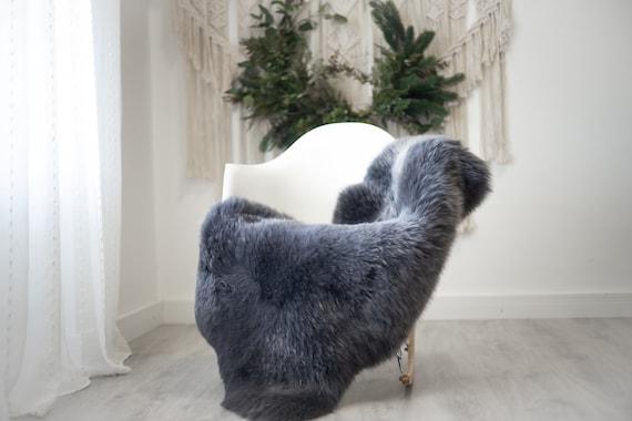 Real Sheepskin Rug Shaggy Rug Chair Cover Scandinavian Home Sheepskin Throw Sheep Skin Gray Sheepskin Home Decor Rugs #herdwik359