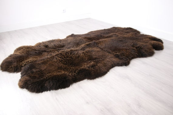 Quad Brown Merino Sheepskin Rug | Long rug | Shaggy Rug | Chair Cover | Area Rug | Brown Rug | Carpet | Brown Throw | Sheep Skin