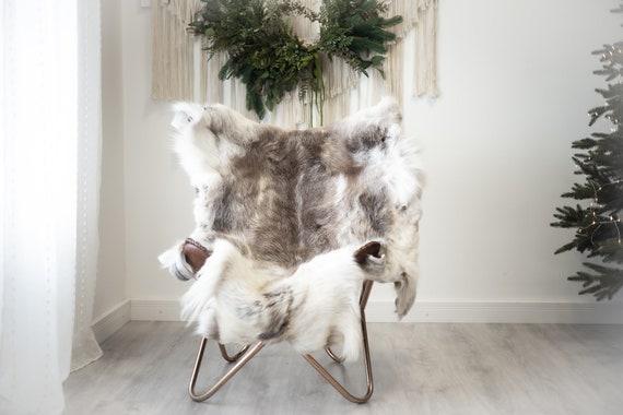 Reindeer Hide   Reindeer Rug   Reindeer Skin   Throw XXL EXTRA LARGE - Scandinavian Style Christmas Decor Brown White Hide #Reindeer95