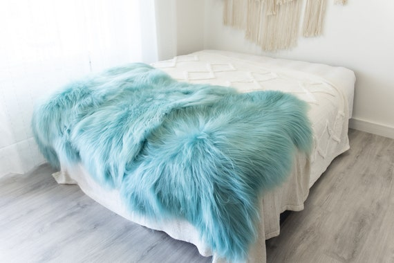 Triple Baby Blue Sheepskin Rug   Long rug   Shaggy Rug   Chair Cover   Area Rug   Baby Blue Rug   Carpet   Baby Blue Throw   Sheep Skin