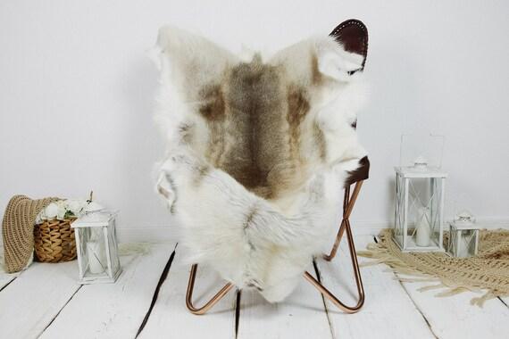 Reindeer Hide | Reindeer Rug | Reindeer Skin | Throw XXL EXTRA LARGE - Scandinavian Style Christmas Decor Brown White Hide #Kre23