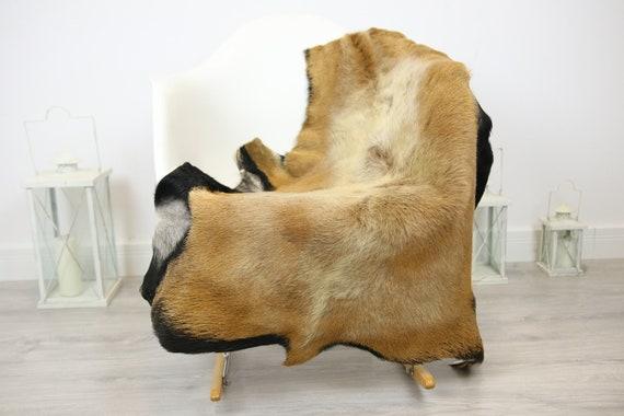 Natural real Goatskin rug, Goat Hide Goat Rug Carmel Brown #Goat32