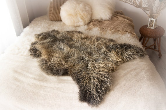 Real Sheepskin Rug Genuine Rare Gotland Sheepskin Rus - Curly Fur Rug Scandinavian Sheep skin - Gray Gold Sheepskin #KWAGOT5