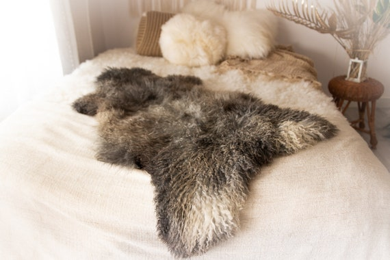 Real Sheepskin Rug Genuine Rare Gotland Sheepskin Rus - Curly Fur Rug Scandinavian Sheep skin - Gray Gold Sheepskin #KWAGOT2