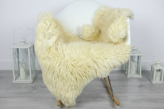Genuine Rare Tuscan Lamb Sheepskin Rug - Curly Fur Rug - Natural Sheepskin - Ivory  Sheepskin | #CURLY23
