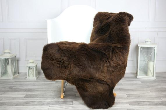 Sheepskin Rug | Real Sheepskin Rug | Shaggy Rug | Chair Cover | Sheepskin Throw | Brown Sheepskin | CHRISTMAS DECOR | #2HER11