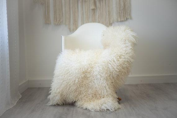 Real Sheepskin Rug Genuine Rare Gotland Sheepskin Rus - Curly Fur Rug Scandinavian Sheep skin - ivory Sheepskin #G47
