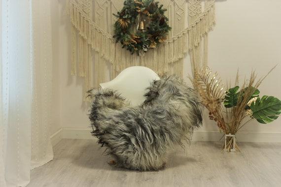 Real Icelandic Sheepskin Rug Scandinavian Decor Sofa Sheepskin throw Chair Cover Natural Sheep Skin Rugs Gray #Iceland84