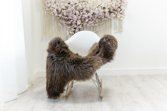 Real Sheepskin Merino Rug Shaggy Rug Chair Cover Sheepskin Throw Sheep Skin Sheepskin Home Decor Rugs Blanket Brown #herdwik180